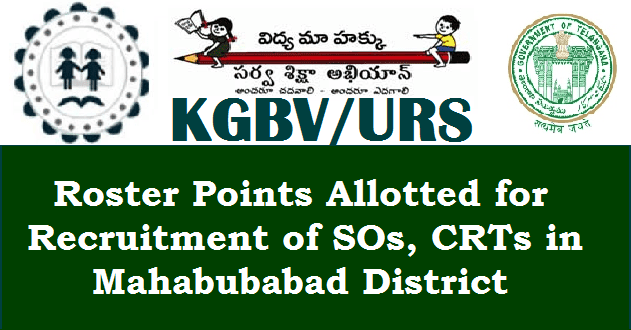CRTs, KGBV, Sarva Shikshs Abhiyan, Special Officers, TS Jobs, TS Residentials, TS State, TSSA, Urban Residential Schools, DEO Mahabubabad, Mahabubabad District