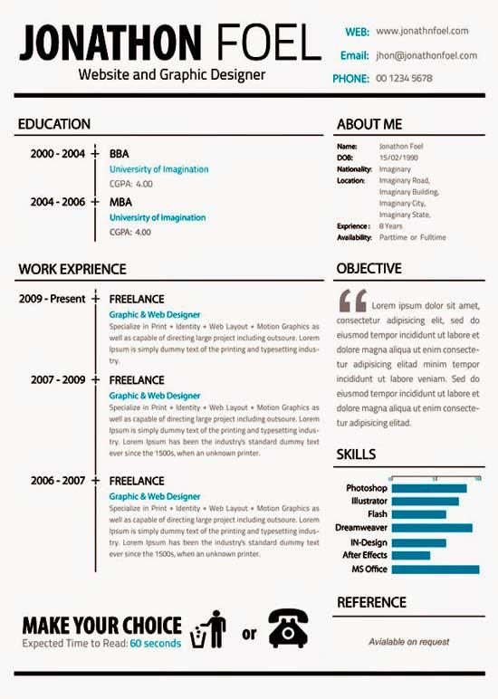 25 Plantillas Gratis de Currículums Vitae Creativos | Saltaalavista Blog