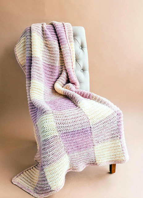 Gingham Throw Blanket Crochet pattern