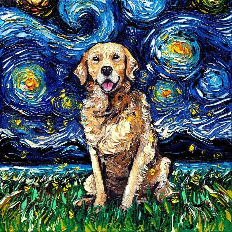 12-Golden-Retriever-Aja-Trier-The-Starry-Night-Dog-Paintings-www-designstack-co