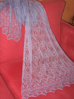 hand knit lace shaw for spring and summer.  Lace stole