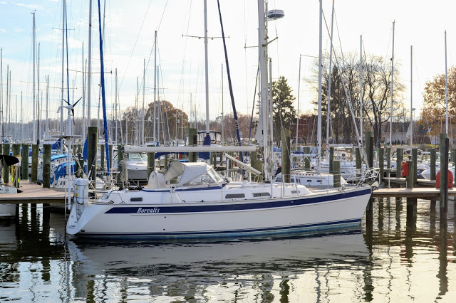 Hallberg-Rassy 37 sailboat in water at dock