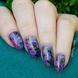 Moyra Stamping Plate 41 Florality 3 with Hit the Bottle High Voltage Violet