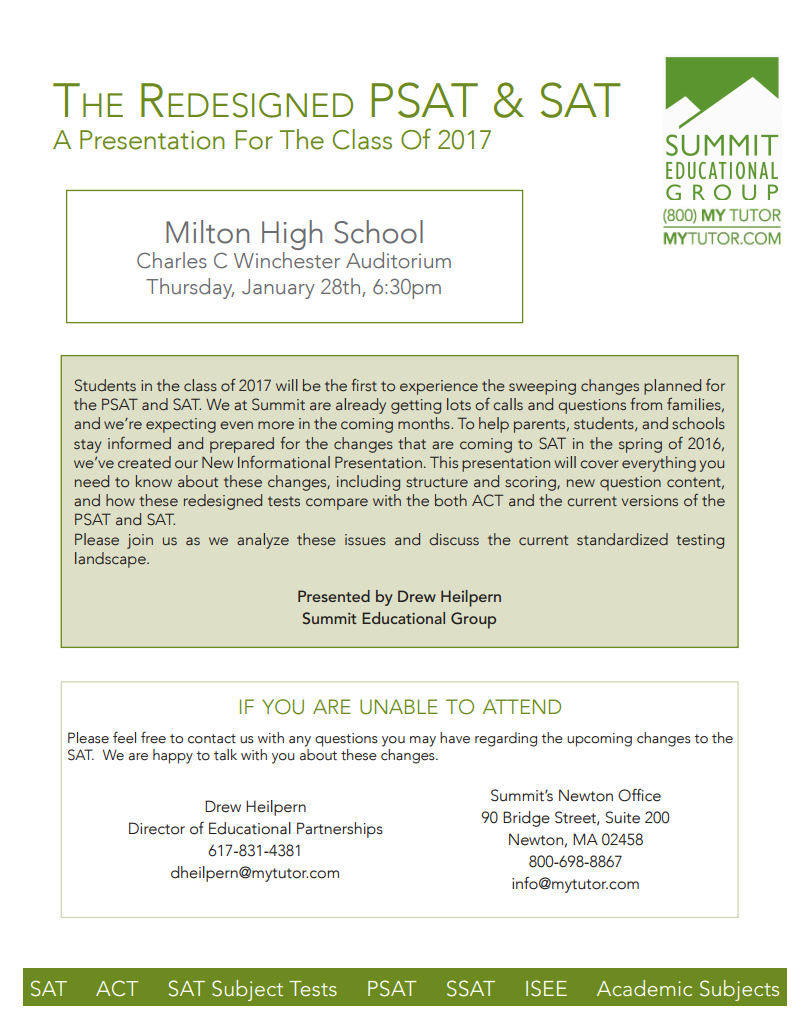Upcoming Changes To Sat Free Talk For >> Milton High Happenings 2015