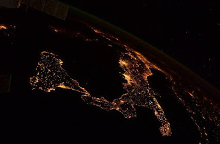 Cristoferotti's photographs included this amazing view of the Italian peninsula at night