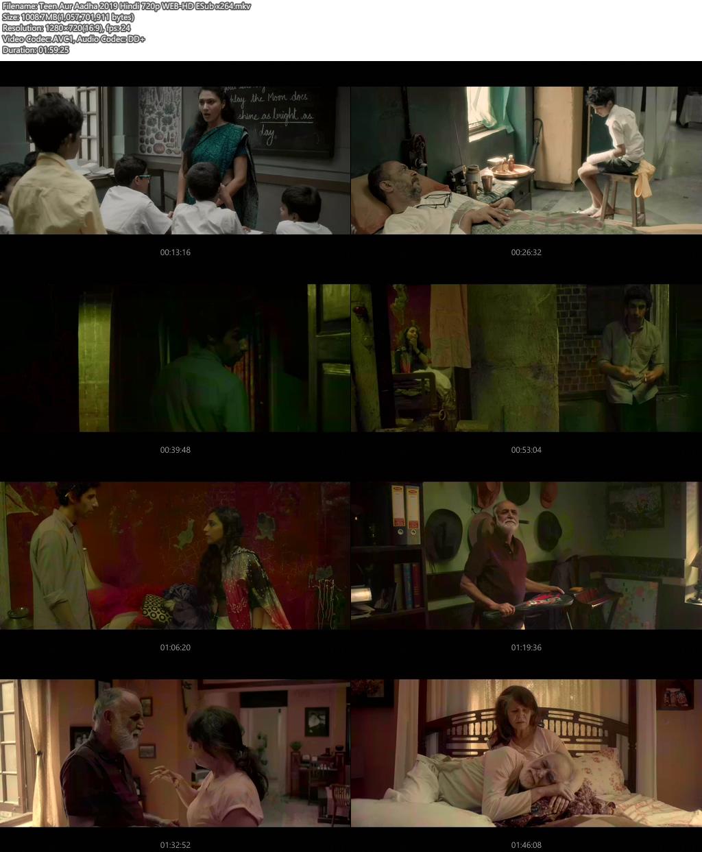 Teen Aur Aadha 2019 Hindi 720p WEB-HD ESub x264 | 480p 300MB | 100MB HEVC Screenshot
