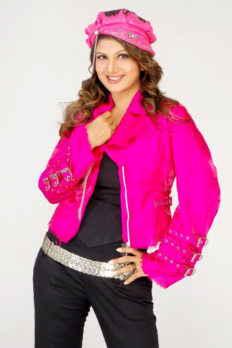 Actress Rambha Long Hair Photos In Pink Dress