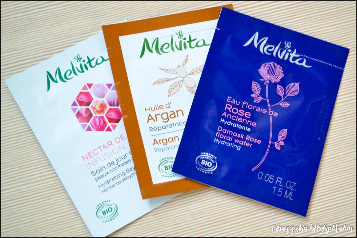 Увлажняющий дневной крем Melvita, аргановое масло Melvita и экстраординарная вода роза Melvita.