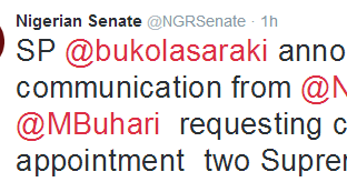 Buhari Seeks Senates Confirmation Of Two Supreme Court Justices