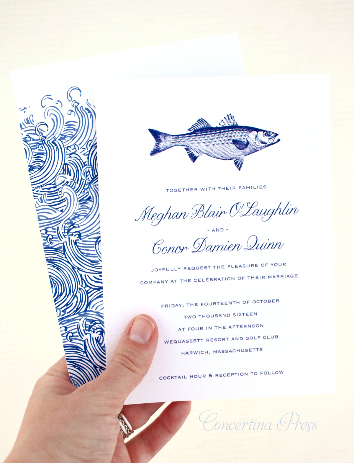 Striped Bass Wedding Invitation from Concertina Press