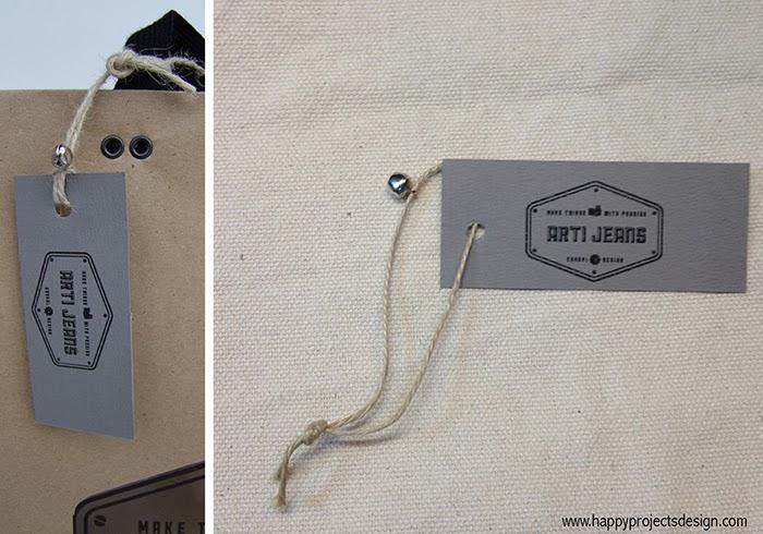 Logo & Packaging Artijeans: ojales metálicos para sujetar las asas y detalle etiqueta