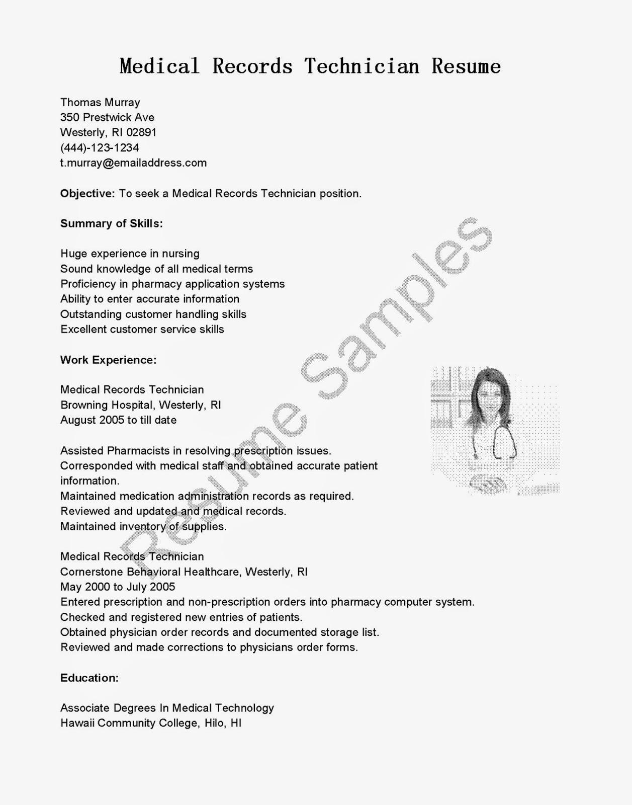 Resume Samples Medical Records Technician Resume Sample