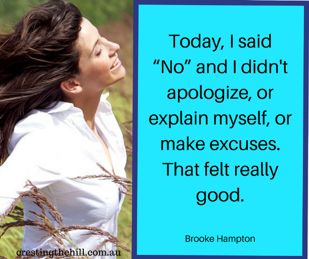"Today I said ""no"" and didn't apologize - Brooke Hampton quote"