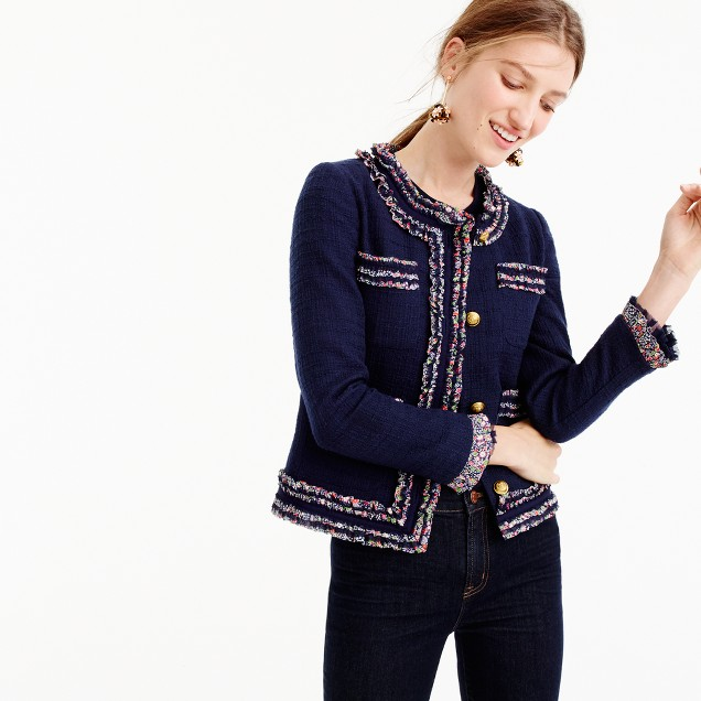 J Crew Lady jacket with liberty trim