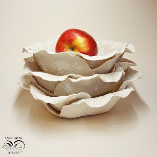 Ceramic cabbage salad bowl, white porcelain