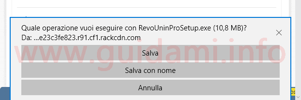 Microsoft Edge richiesta download Salva con nome