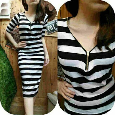 Jual Dress Zipper Dress Salur - 12509