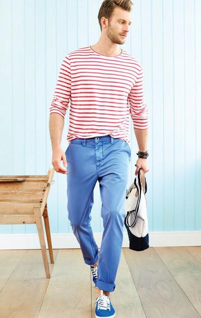 Look Masculino Listrado com Camiseta Listrada
