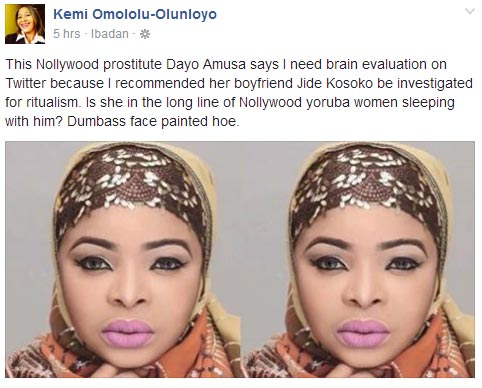 Kemi Omololu-Olunloyo drags actress Dayo Amusa over late Henrietta Kosoko's death