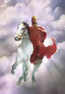 Jesus on the white horse (Revelation 19:11) - Artist unknown