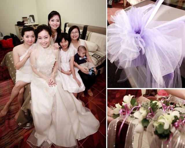 corsage, white gown purple car ribbon