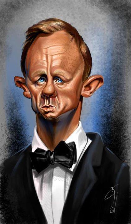 Caricatura de Daniel Craig por Bogdan Covaciu