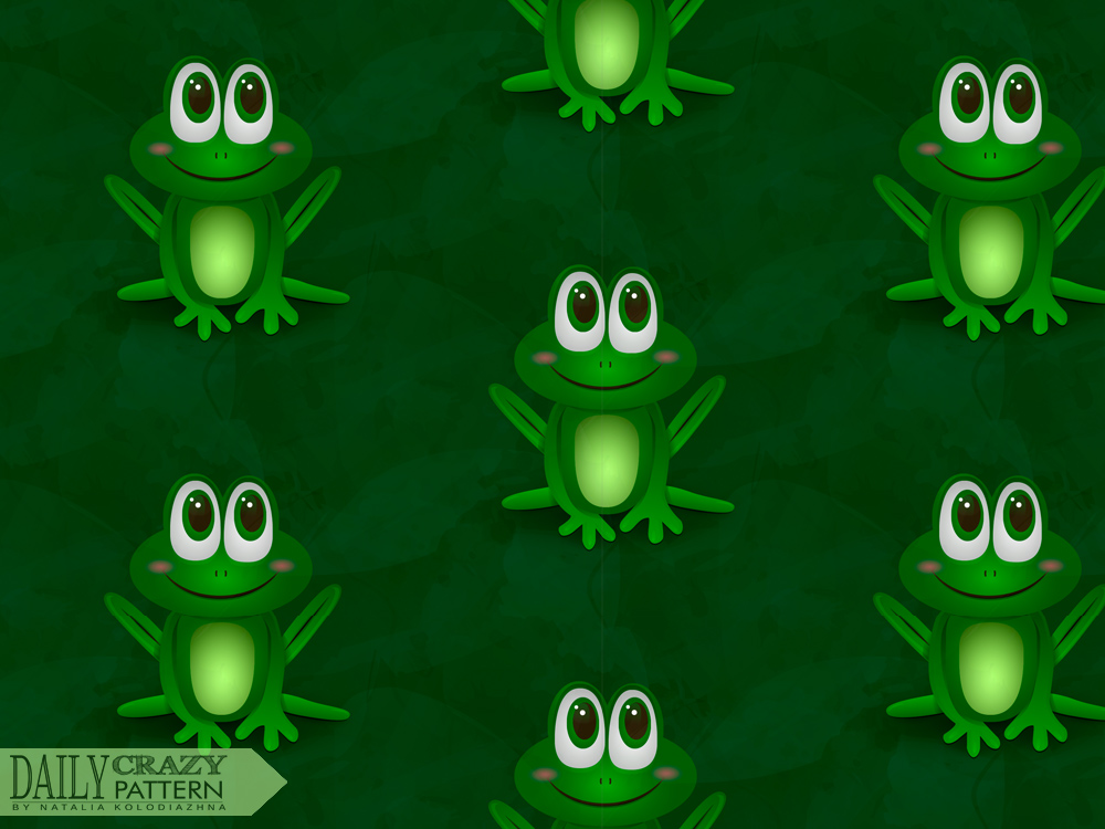 "Pattern with cute little frog for ""Daily Crazy Pattern"" project 