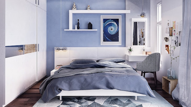 The blue bedrooms are soothing and relaxing