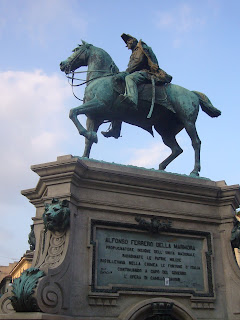 The equestrian statue of La Marmora in Turin's Piazza Bodoni