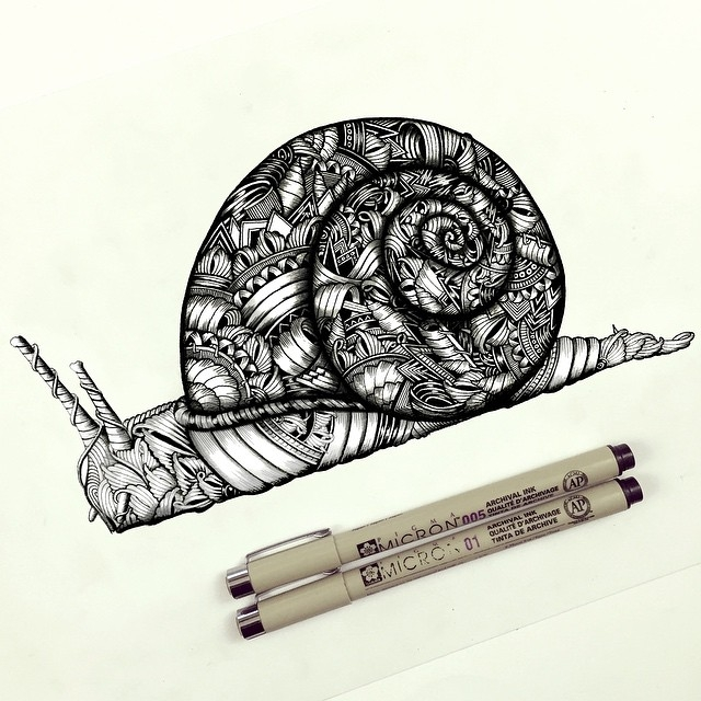 20-Snail-Faye-Halliday-Haathi-Detailed-Drawings-Representing-Complex-Animal-www-designstack-co