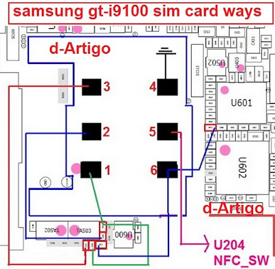 This post i will share with you how to solve your samsung GT-i9100 insert sim card problem. at first check your device sim card connector this line if you found any line is short you need to connect this line using copier coil.