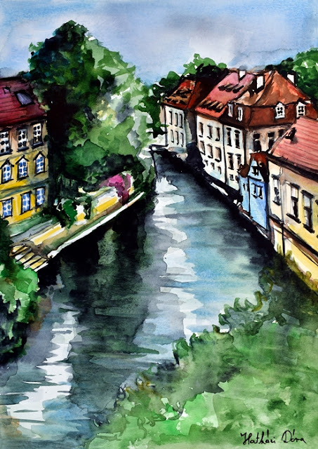 Little Venice of Prague - Certovka Canal. Watercolor painting by Dora Hathazi Mendes