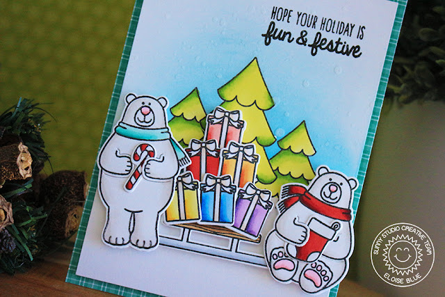 Sunny Studio Stamps: Playful Polar Bears Rainbow Stacked Presents Card by Eloise Blue