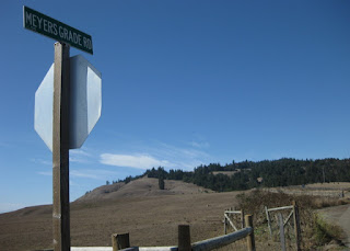 Meyers Grade road sign at the intersection of Highway 1, Sonoma County, California