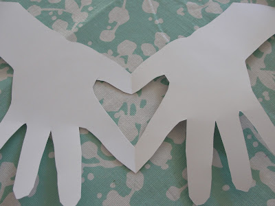 child's handprint heart card