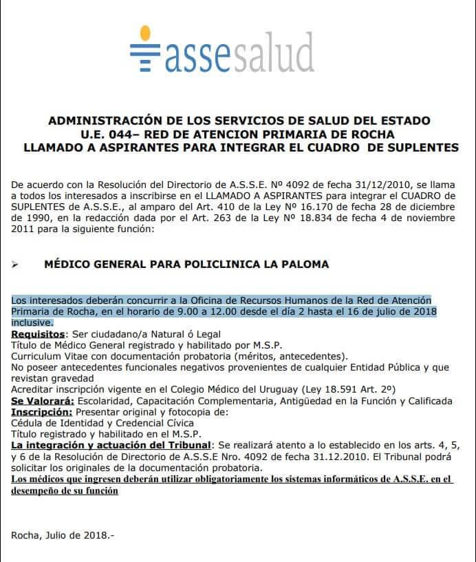 Médicos Generales 2018 Asse