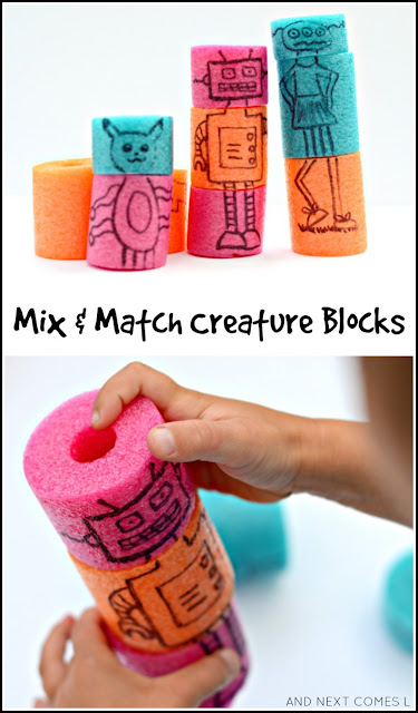 Homemade mix and match creature blocks made from pool noodles are a perfect quiet time activity for kids from And Next Comes L