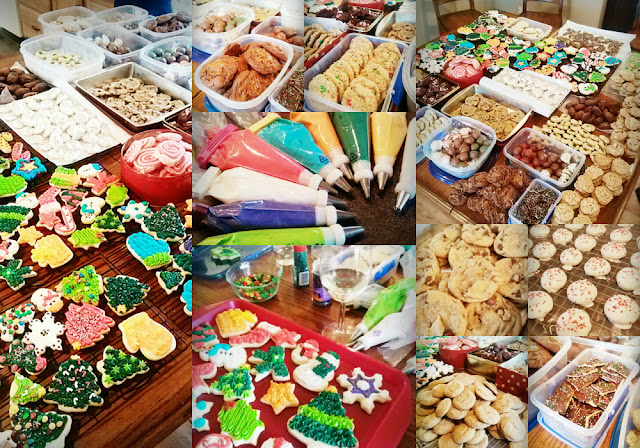 collage image of dozens of holiday cookies being displayed at a cookie exchange party