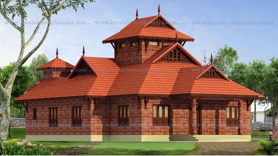 Budget traditional nalukettu style 3 bedroom home with for Traditional house plans kerala style