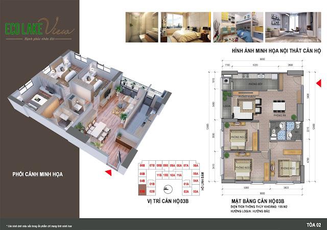 Thiết kế căn hộ 03B tòa HH2 chung cư ECO LAKE VIEW