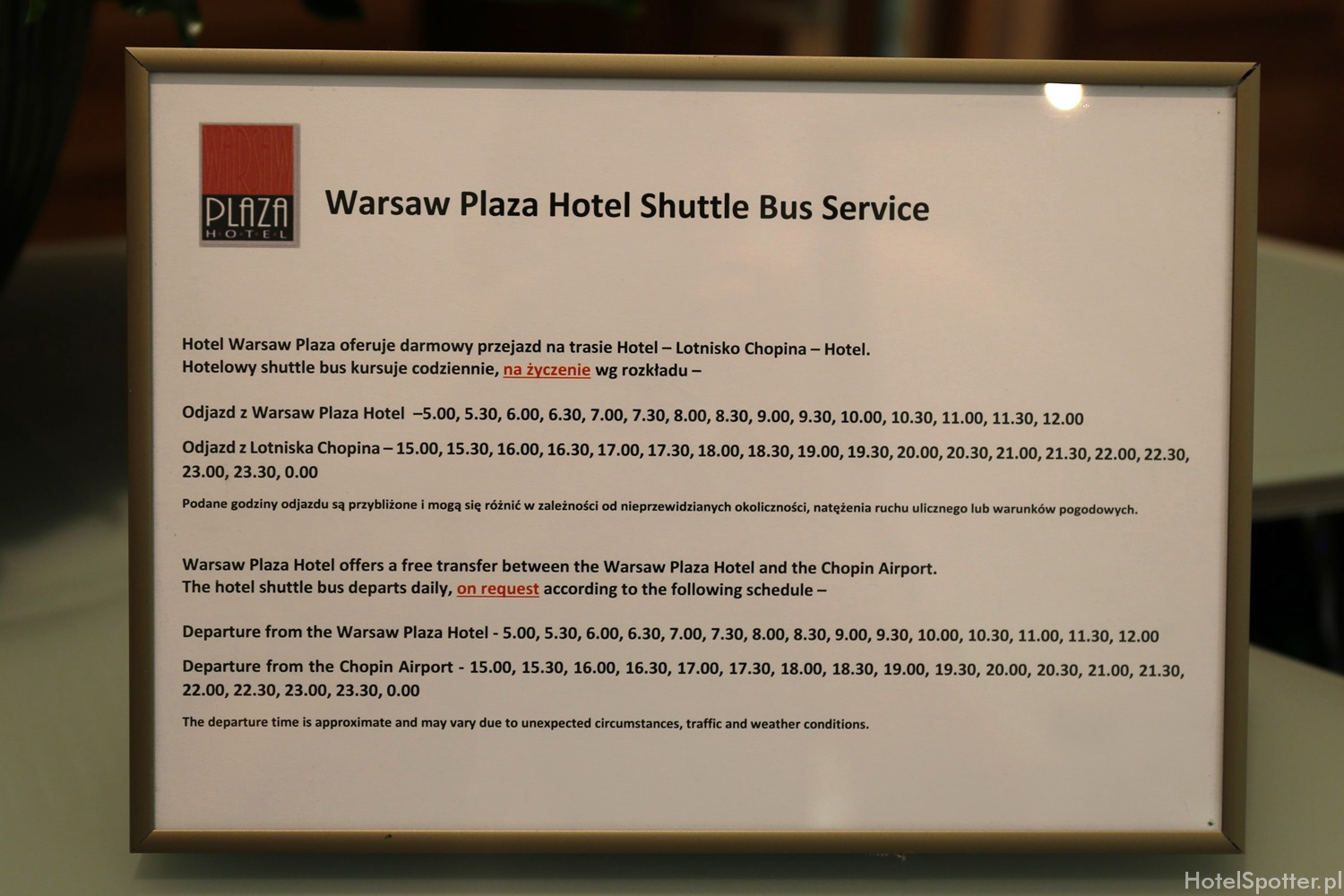 Warsaw Plaza Hotel - shuttle bus