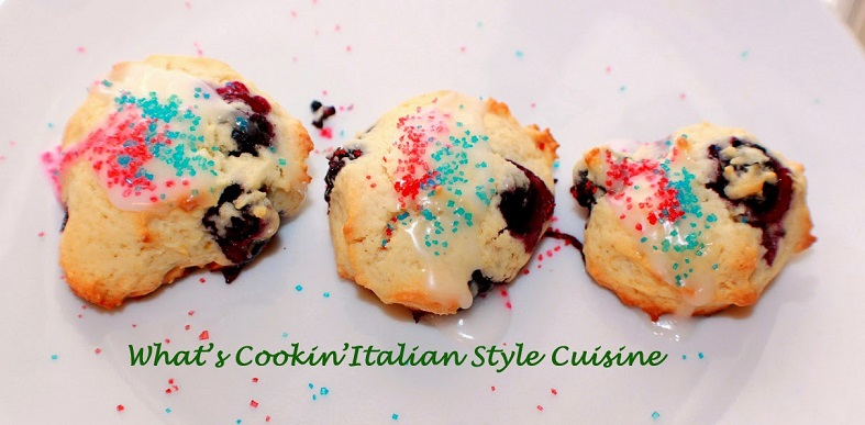 blueberry drop cookies with red and blue sugared frosting