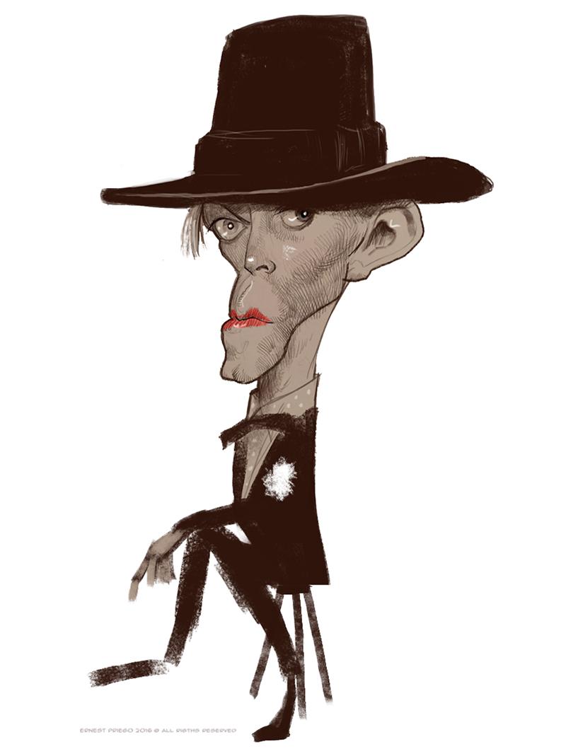 Caricatura de David Bowie 2 por Ernesto Priego