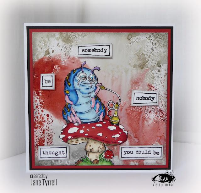 wonderland caterpillar stamp - card - Jane Tyrrell
