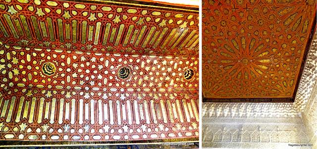 Teto decorado em um salão do Palácio de Comares, na Alhambra de Granada
