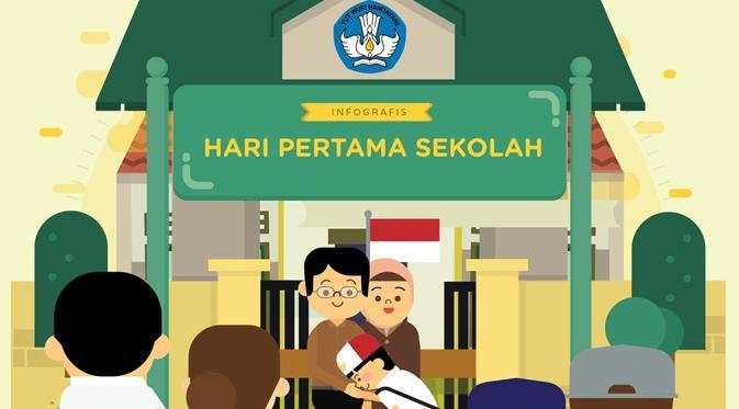Antusiasme Orang Tua Antar Anak Hari Pertama Sekolah