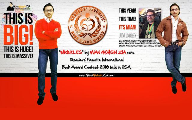Wrinkles by Mian Mohsin Zia wins Readers' Favorite International Book Award 2016 held in USA