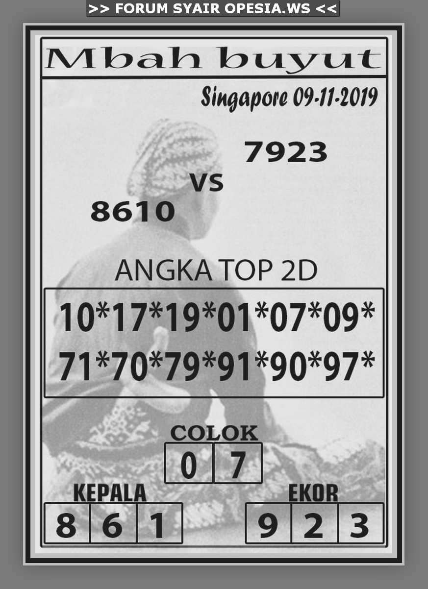 Kode syair Singapore Sabtu 9 November 2019 22