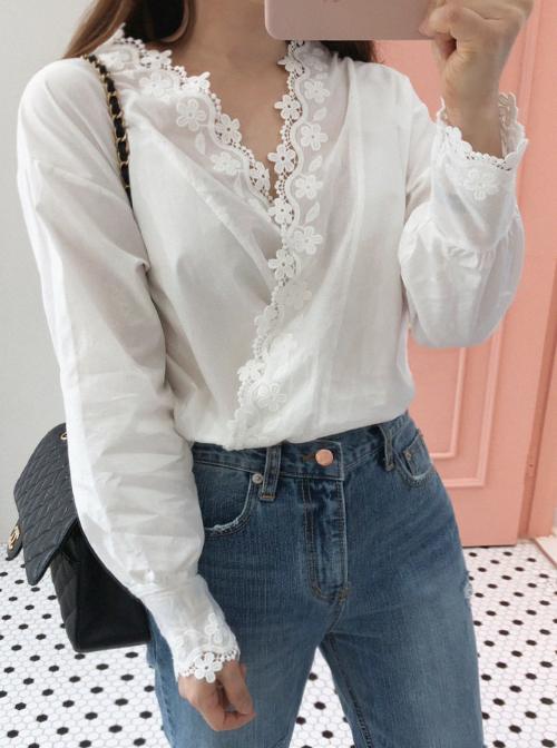 White Lace Trim Surplice Neck Blouse