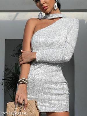 Fashion Sexy Shiny Asymmetric Strapless Bodycon Dress